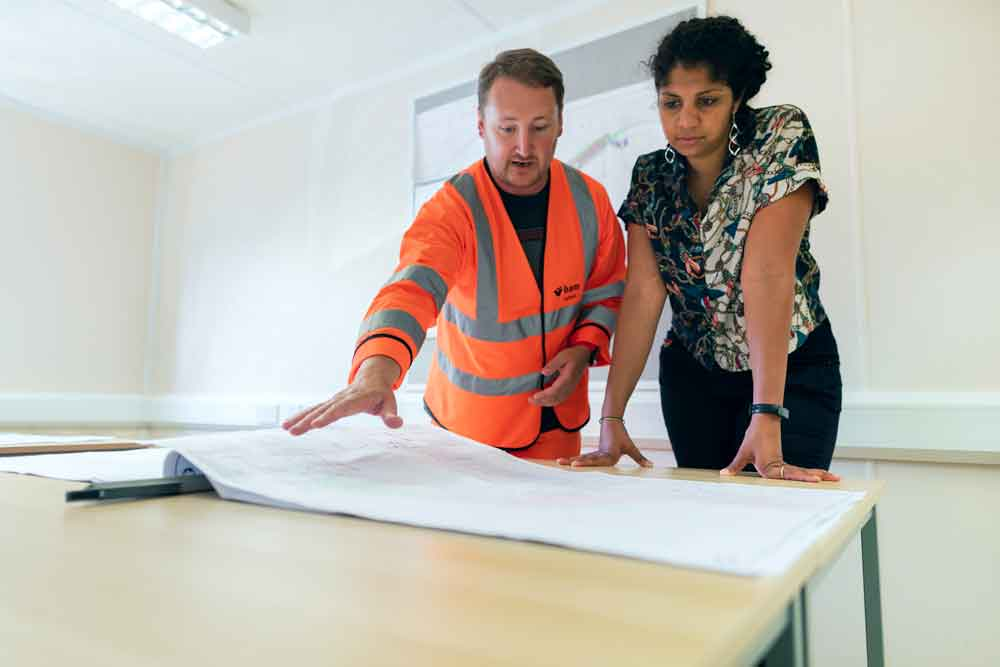 construction consultation with man and woman